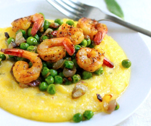 Polenta with Crispy Peas and Roasted Shrimp
