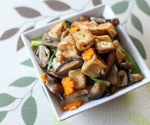 Braised Tofu, Mixed Mushrooms and Vegetables