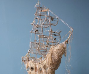 "Ann Carrington's pearl piece ""Galleons and Feather"