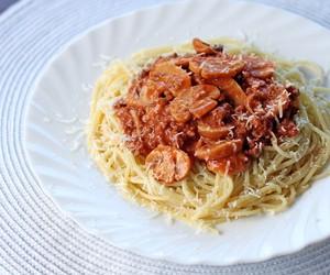 Creamy Tomato Mushroom Spaghetti