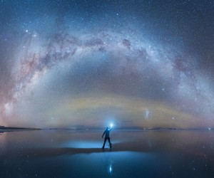 The Milky Way Mirrored On Uyuni Salt Flat