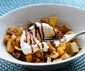 ROASTED ROOT VEGETABLE HASH WITH POACHED EGGS