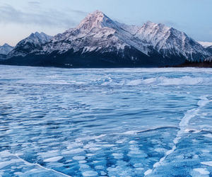 Frozen Methane Bubbles Trapped Under Lake Abraham