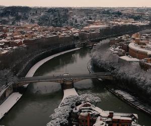 Mediterranean metropolis as winter wonderland land