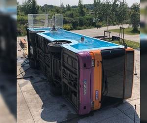 A school bus as pool deign