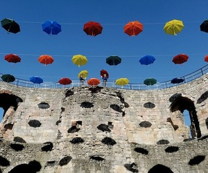 Suspended Umbrellas at Clifford's Tower, York