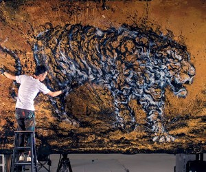 A Monumental Painting of a Roaring Tiger