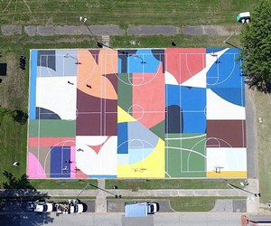 Project Backboard paint colorful basketball courts