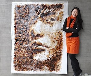 Hong Yi: Portrait Artworks made with Coffee Cups &