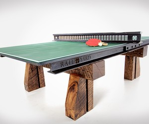 Ping Pong Table Made from Reclaimed Rails