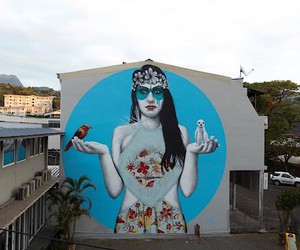 A Polynesian model as Mural by Fin DAC