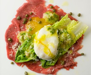 Carpaccio with Mini Caesar Salad and Poached Egg