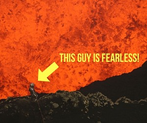 Man Jumps In Active Volcano With GoPro