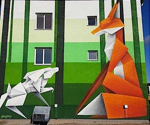 Street art in Origami style