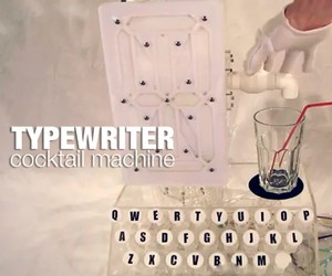 Hydraulic Typewriter converts Words into Cocktails